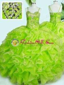Organza Sleeveless Floor Length Ball Gown Prom Dress and Beading and Ruffles