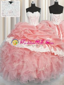 Watermelon Red and Baby Pink Ball Gowns Sweetheart Sleeveless Organza Floor Length Lace Up Appliques and Ruffles and Pick Ups Quinceanera Gowns