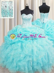 Visible Boning Organza Sweetheart Sleeveless Lace Up Beading and Ruffles and Pick Ups Quinceanera Dresses in Aqua Blue