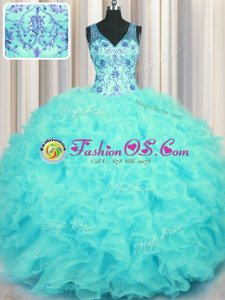 V Neck Floor Length Zipper 15th Birthday Dress Aqua Blue and In for Military Ball and Sweet 16 and Quinceanera with Beading and Appliques and Ruffles