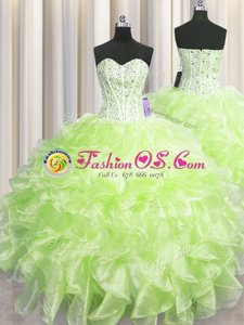 New Style Visible Boning Yellow Green Sleeveless Organza Zipper Quinceanera Dress for Military Ball and Sweet 16 and Quinceanera
