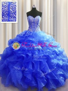 Beauteous Sweetheart Sleeveless Quinceanera Gown Floor Length Beading and Ruffles Green Organza