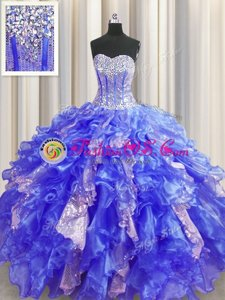 Luxurious Brush Train Floor Length Lace Up Quince Ball Gowns Fuchsia and In for Military Ball and Sweet 16 and Quinceanera with Beading and Embroidery and Ruffled Layers and Pick Ups