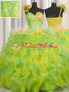 Gorgeous One Shoulder Handcrafted Flower Multi-color Lace Up Ball Gown Prom Dress Beading and Ruffles and Hand Made Flower Sleeveless Floor Length
