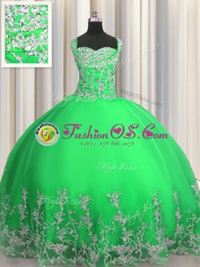 Hot Selling Apple Green Ball Gowns Beading and Appliques Quinceanera Dress Lace Up Tulle Sleeveless Floor Length