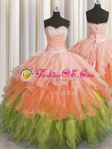 Flirting Multi-color Organza Lace Up 15th Birthday Dress Sleeveless Floor Length Beading and Ruffles and Ruffled Layers and Sequins