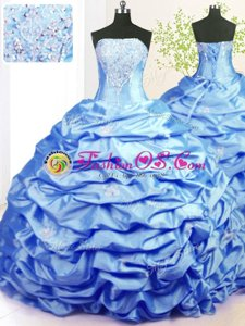 Pick Ups With Train Ball Gowns Sleeveless Baby Blue Quinceanera Dress Sweep Train Lace Up