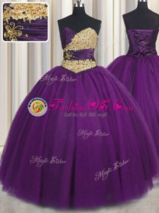 Elegant Purple Lace Up Sweetheart Beading and Appliques Ball Gown Prom Dress Tulle Sleeveless