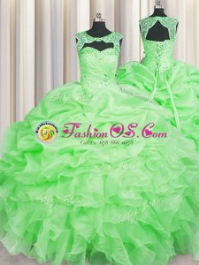 Scoop Pick Ups Yellow Sleeveless Organza Lace Up 15th Birthday Dress for Military Ball and Sweet 16 and Quinceanera