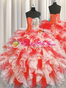 Modern Long Sleeves Brush Train Beading and Ruffles Lace Up Quinceanera Gowns