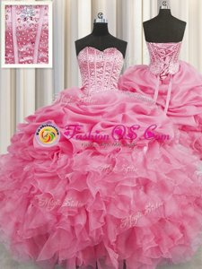 Sweet Visible Boning Floor Length Rose Pink Quinceanera Dress Organza Sleeveless Beading and Ruffles and Pick Ups