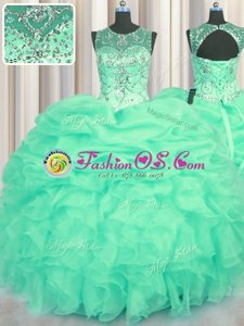 Vintage Scoop See Through Sleeveless Beading and Ruffles and Pick Ups Lace Up Quinceanera Gown