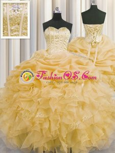 Visible Boning Sleeveless Beading and Ruffles and Pick Ups Lace Up Quinceanera Dress