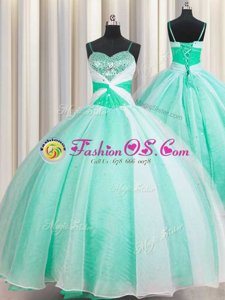 Dramatic Lavender Ball Gowns Beading and Ruffles Sweet 16 Dresses Lace Up Organza Sleeveless Floor Length