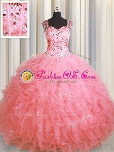 See Through Zipper Up Pink Sleeveless Floor Length Beading and Ruffles Zipper Quinceanera Gown