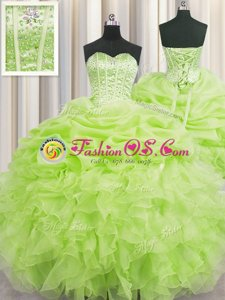 Visible Boning Yellow Green Sweetheart Lace Up Beading and Ruffles and Pick Ups Quinceanera Dresses Sleeveless