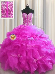 Beauteous Visible Boning Fuchsia Ball Gowns Sweetheart Sleeveless Organza Floor Length Lace Up Beading and Ruffles Sweet 16 Quinceanera Dress