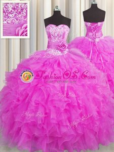 Handcrafted Flower Fuchsia Organza Lace Up 15th Birthday Dress Sleeveless Floor Length Beading and Ruffles and Hand Made Flower