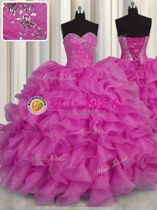 Floor Length Ball Gowns Sleeveless Fuchsia Quinceanera Gown Lace Up