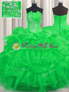 Dynamic Pick Ups Ruffled Strapless Sleeveless Lace Up Sweet 16 Dress Green Organza
