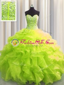 Simple Ball Gowns Sweetheart Sleeveless Organza Floor Length Lace Up Beading and Ruffles and Ruching and Pick Ups Ball Gown Prom Dress