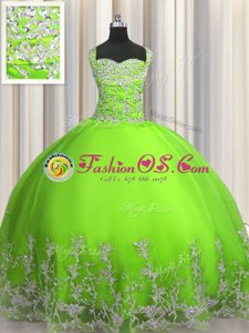 Super Floor Length Lace Up Sweet 16 Quinceanera Dress Gold and In for Military Ball and Sweet 16 and Quinceanera with Beading and Appliques
