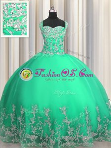 Fantastic Visible Boning Beading and Ruffles Quinceanera Gowns Yellow Green Lace Up Sleeveless Floor Length