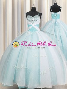 Spaghetti Straps Sleeveless Organza Quinceanera Dresses Beading and Ruching Lace Up