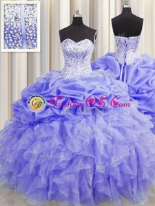 Pretty Pick Ups Visible Boning Lavender Sleeveless Organza Lace Up Sweet 16 Dress for Military Ball and Sweet 16 and Quinceanera