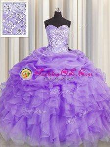 Customized Floor Length Lavender Sweet 16 Quinceanera Dress Organza Sleeveless Beading and Ruffles