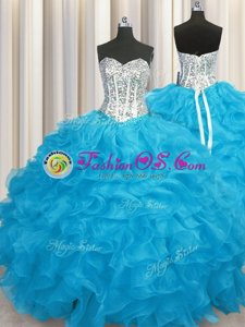 Top Selling Sweetheart Long Sleeves 15th Birthday Dress Floor Length Beading and Ruffles Aqua Blue Organza