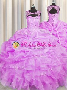 Scoop Lilac Sleeveless Floor Length Beading and Pick Ups Lace Up Quinceanera Dress