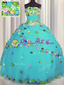 Affordable Aqua Blue Tulle Lace Up Quince Ball Gowns Sleeveless Floor Length Hand Made Flower