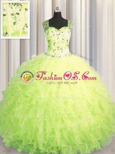 Luxurious See Through Zipper Up Sleeveless Zipper Floor Length Beading and Ruffles 15th Birthday Dress