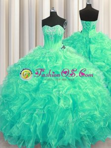 Cute Sleeveless Beading and Ruffles Lace Up 15 Quinceanera Dress with Turquoise Brush Train