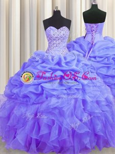 Fabulous Pick Ups With Train Ball Gowns Sleeveless Baby Pink 15 Quinceanera Dress Brush Train Lace Up