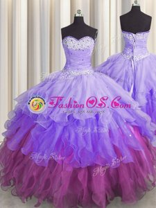 Sleeveless Zipper Floor Length Beading and Ruffles and Ruffled Layers and Sequins Ball Gown Prom Dress