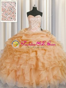 Superior Sweetheart Sleeveless Sweet 16 Dress Floor Length Beading and Ruffles and Pick Ups Rose Pink Organza