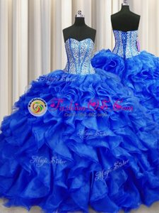 Visible Boning Royal Blue Sleeveless Beading and Ruffles Lace Up Quince Ball Gowns