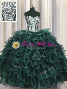 Amazing Visible Boning Peacock Green Sweetheart Lace Up Ruffles and Sequins 15 Quinceanera Dress Sleeveless