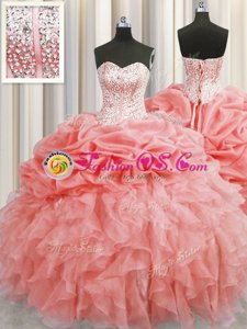 Trendy Visible Boning Watermelon Red Lace Up Sweet 16 Dresses Ruffles and Pick Ups Sleeveless Floor Length