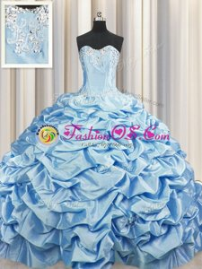 Brush Train Baby Blue Taffeta Lace Up Sweetheart Sleeveless Ball Gown Prom Dress Sweep Train Beading and Pick Ups