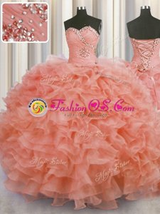 Colorful Ball Gowns 15th Birthday Dress Watermelon Red Sweetheart Organza Sleeveless Floor Length Lace Up