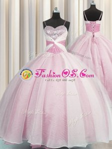 Inexpensive Visible Boning Floor Length Lace Up Quinceanera Dress Lilac and In for Military Ball and Sweet 16 and Quinceanera with Beading and Ruffles and Pick Ups