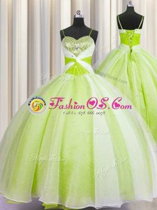 Fine Gold Sleeveless Organza Lace Up Sweet 16 Quinceanera Dress for Military Ball and Sweet 16 and Quinceanera