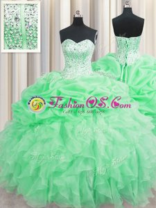Simple Pick Ups Scoop Sleeveless Lace Up Quinceanera Gowns Navy Blue Organza
