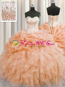 Most Popular Visible Boning Organza Sweetheart Sleeveless Lace Up Beading and Ruffles Sweet 16 Dress in Orange
