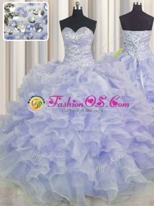 High Quality Purple Sweetheart Neckline Beading and Ruffles Quinceanera Gowns Sleeveless Lace Up