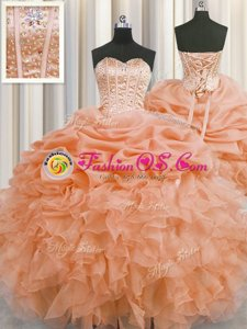 Colorful Visible Boning Sleeveless Floor Length Beading and Ruffles and Pick Ups Lace Up Sweet 16 Dress with Orange