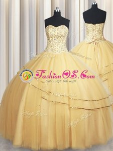 Visible Boning Big Puffy Champagne Ball Gowns Beading and Ruching Quinceanera Gown Lace Up Organza Sleeveless Floor Length